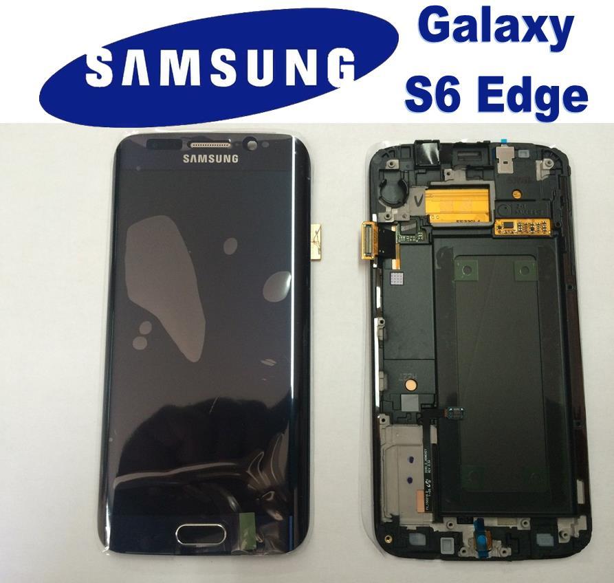 LCD + TOUCH ORIGINALE PER GALAXY S6 EDGE NERO GH97-17162A