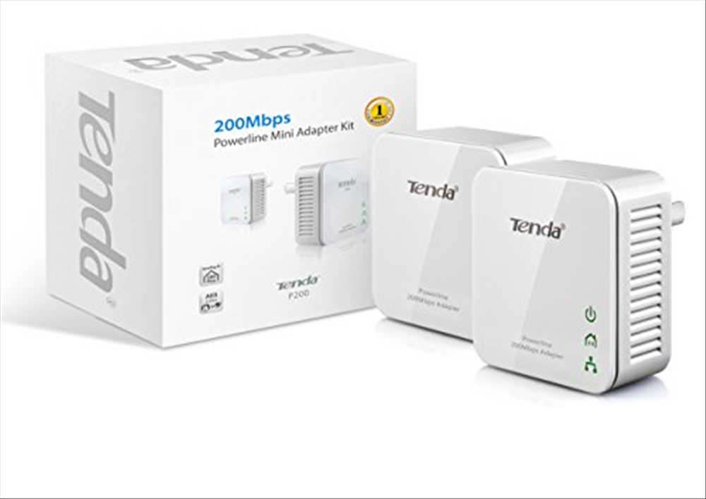 2 Pack P200Kit Plug and Play Tenda 200Mbps Mini Powerline Adapter with 2 Ports 10//100Mbps for IPTV Video Streams
