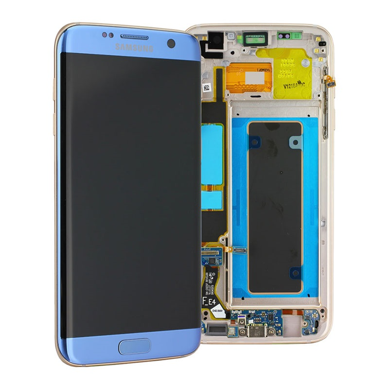 LCD + TOUCH PER GALAXY S7 EDGE ORIGINALE BLU GH97-18533G