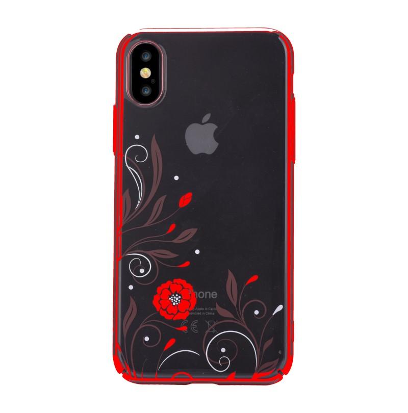 Cover-Con-Swarovski-Crystal-Petunia-per-iPhone-X-Rossa