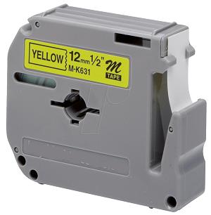 Laminato Black-Yellow 12mmX8m Brother label#MK-631BZ