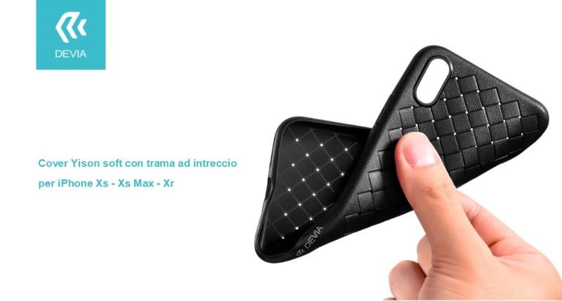 Cover Yison soft con trama ad intreccio per iPhone Xs Nera