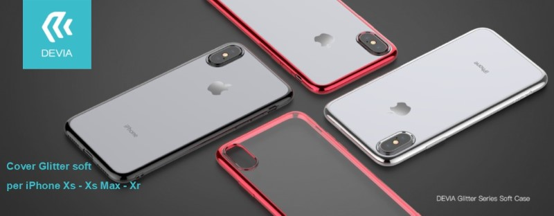 Cover Glitter soft con bordo Rosso per iPhone Xs Max 6.5