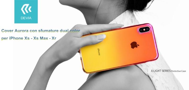 Cover Aurora dual color Giallo e Rosa per iPhone Xr 6.1