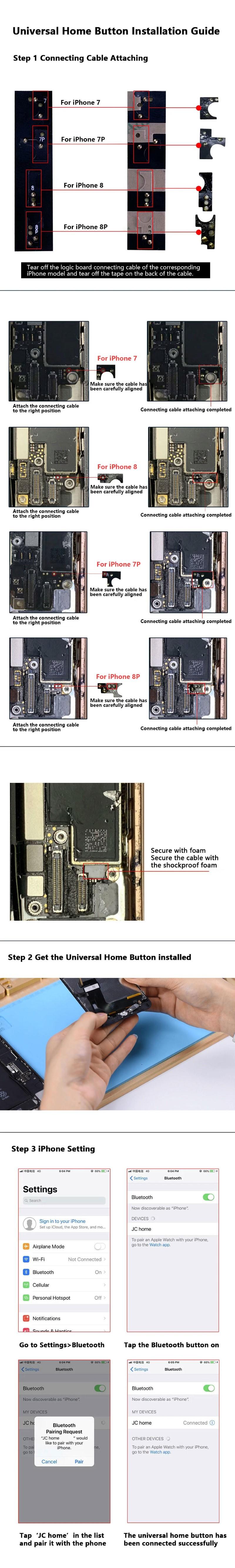 Soluzione per Pulsante Home IPhone 7-8 e Plus Bianco