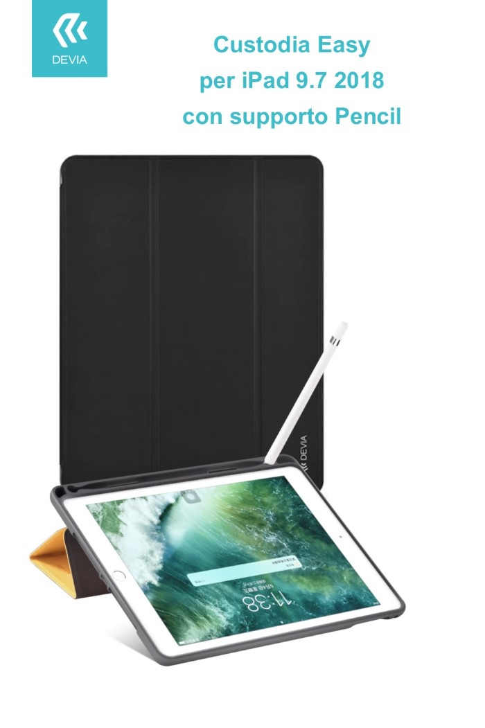 Cover Easy con Supporto Pencil per iPad 9.7 2018 Nera