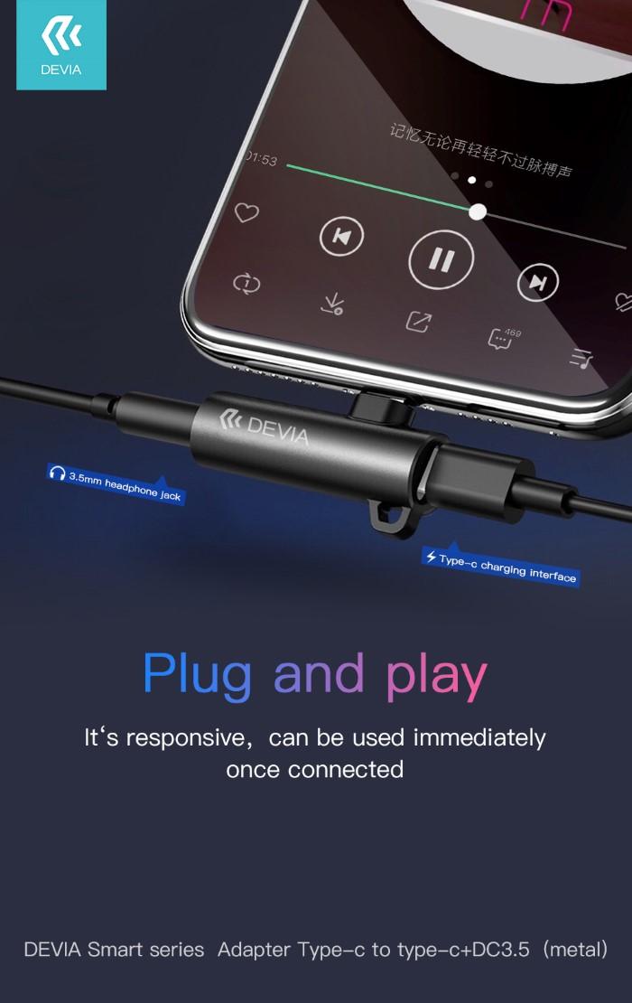 Adattatore Audio Jack 3.5 a Tipo-C + Carica Silver