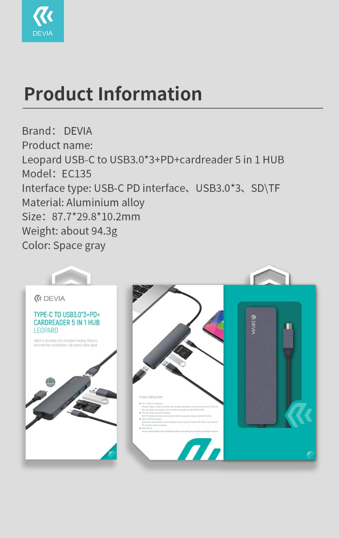 HUB 5 in 1 da Tipo-C a Lettore card Usb 3 e carica PD