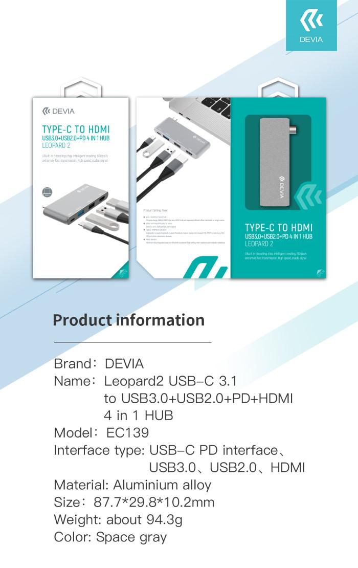 Hub da Tipo-c to HDMI USB3.0+USB2.0+PD 4 in 1