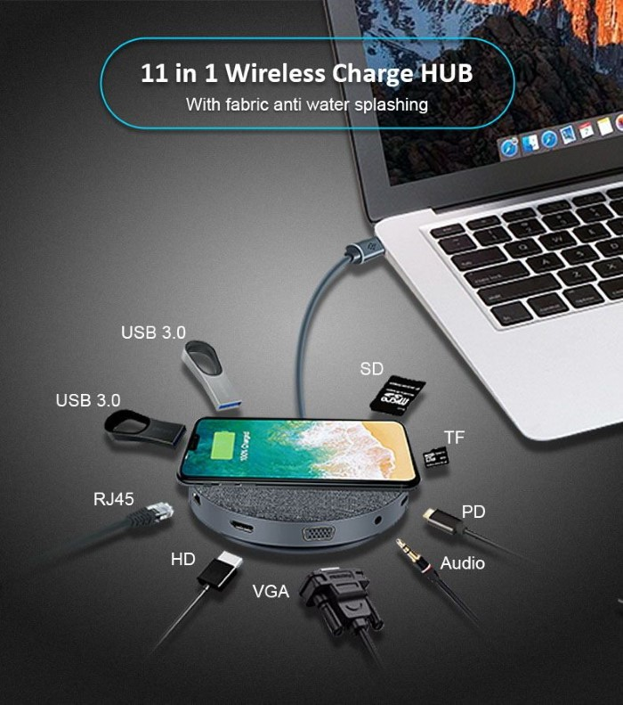 Hub da Tipo-C + Carica Wireless Ufo 10 in 1