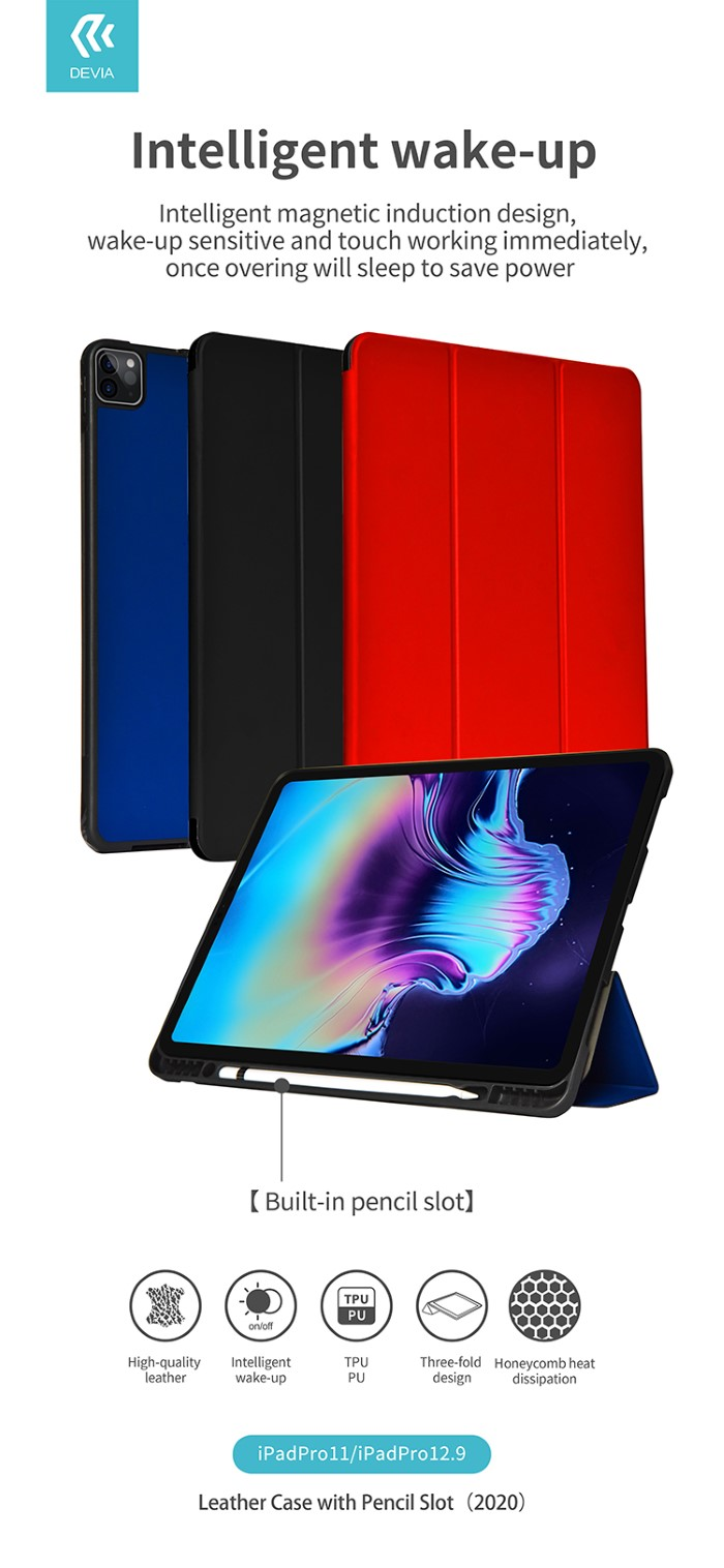 Cover in pelle con supporto pencil per iPad 11 Pro 2020 Nera